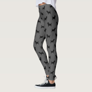 Cairn Terrier Silhouettes Pattern Grey and Black Leggings