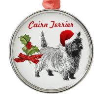 Cairn Terrier w/Santa Cap Holly Christmas Metal Ornament