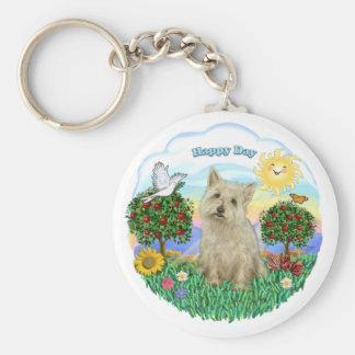 Cairn Terrier (wheaten) Basic Round Button Keychain