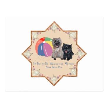 Beach Themed Cairn Terriers at the Beach Postcard