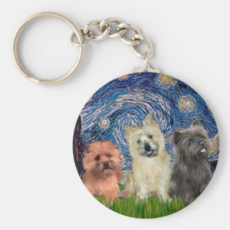 Cairn Terriers (three) - Starry Night Keychain