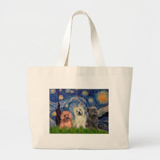 Cairn Terriers (three) - Starry Night Large Tote Bag