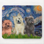 Cairn Terriers (three) - Starry Night Mouse Mats