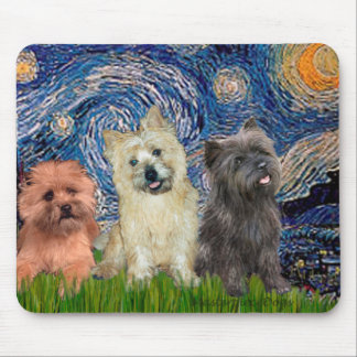 Cairn Terriers (three) - Starry Night Mouse Pad