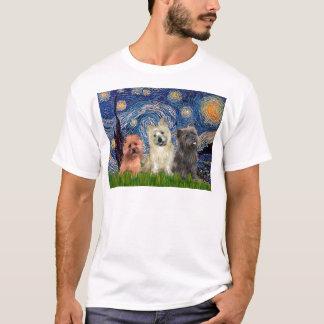 Cairn Terriers (three) - Starry Night T-Shirt