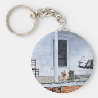 Cairn Terriers Wait Outside of Shop Keychain