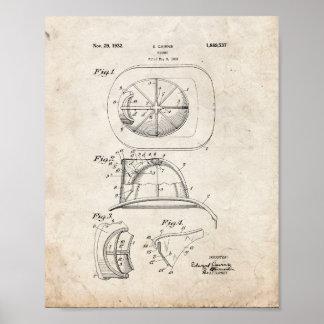 Cairns Fireman Helmet Patent - Old Look Poster