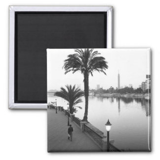 Cairo Egypt, Along the Nile River 2 Inch Square Magnet