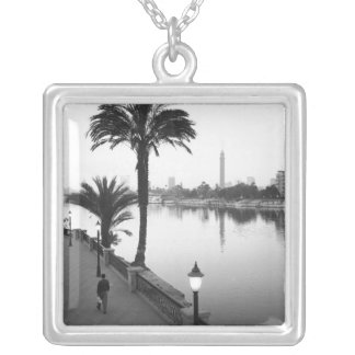 Cairo Egypt, Along the Nile River Silver Plated Necklace