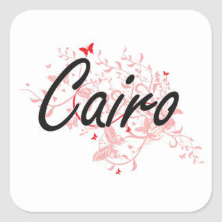 Cairo Egypt City Artistic design with butterflies Square Sticker