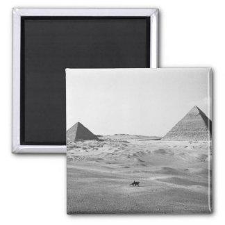 Cairo Egypt, Giza Pyramids 2 Inch Square Magnet