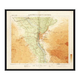 Cairo & Environs, Map of Egypt (1925) Canvas Print