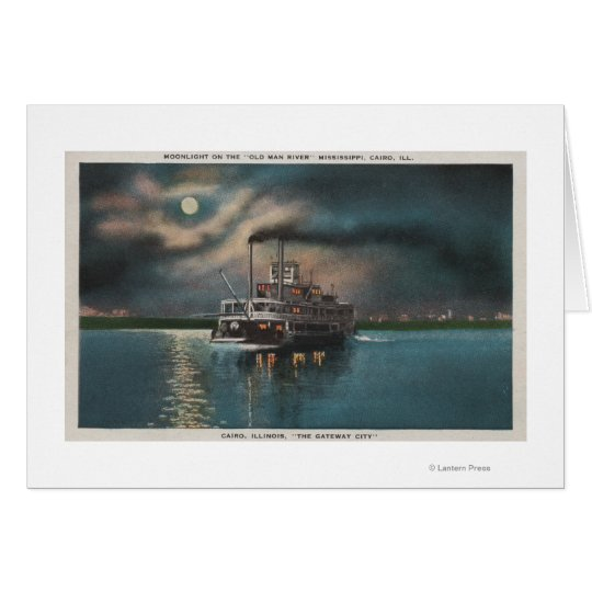 Cairo, IL - Night View of Steamer on Miss. River Card