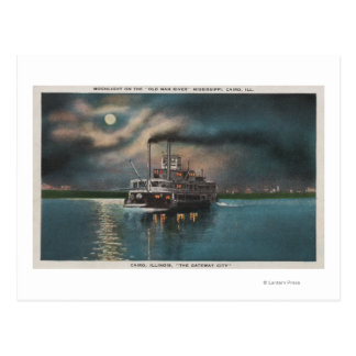 Cairo IL - Night View of Steamer on Miss River Post Card
