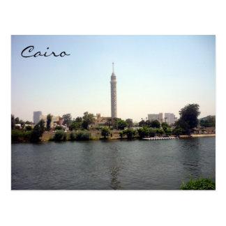 cairo tower river postcard