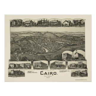 Cairo, WV Panoramic Map - 1899 Print