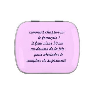 caja a caramelos, francés humor latas de caramelos