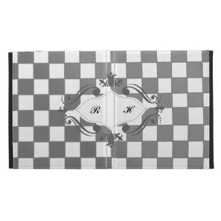 Caja a cuadros gris y blanca del folio de Ipad