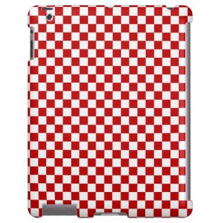 Caja a cuadros roja y blanca del iPad