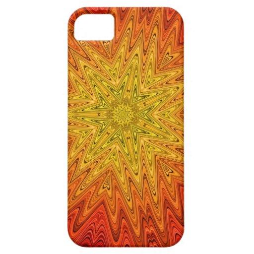 Caja abstracta anaranjada y amarilla del iPhone 5 iPhone 5 Protector