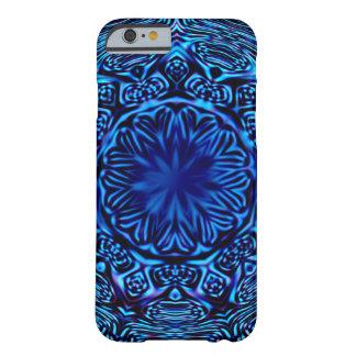 Caja abstracta azul del iPhone 6 de la flor Funda De iPhone 6 Barely There