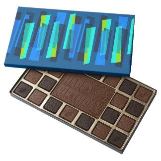 Caja abstracta azul y verde retra de chocolates caja de bombones variados con 45 piezas