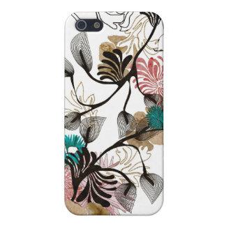 Caja abstracta de la mota de las flores iPhone 5 carcasas