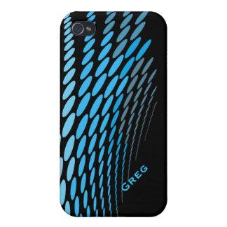 Caja abstracta negra y azul del iPhone 4 iPhone 4 Funda