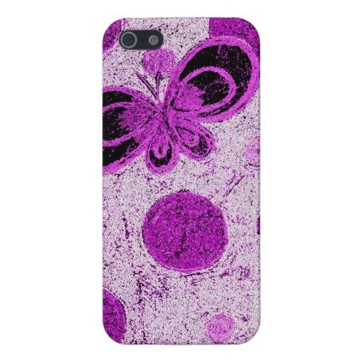 Caja abstracta púrpura del iPhone 5 de la mariposa iPhone 5 Protectores