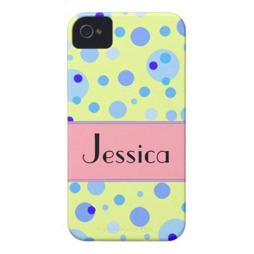 Caja adaptable de los puntos azules rosados de la iPhone 4 Case-Mate cárcasas
