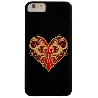 Caja afiligranada roja del iPhone 6 del corazón Funda De iPhone 6 Plus Barely There