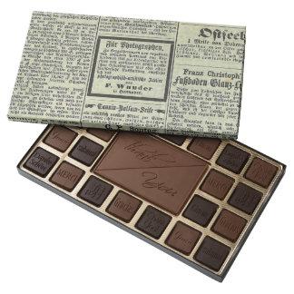 Caja alemana del dulce del periódico del vintage caja de bombones variados con 45 piezas