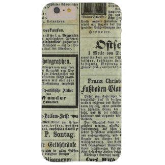 Caja alemana del periódico del vintage funda barely there iPhone 6 plus