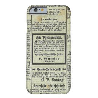Caja alemana del periódico del vintage funda para iPhone 6 barely there
