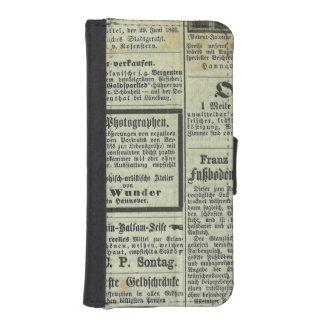 Caja alemana del periódico del vintage fundas billetera de iPhone 5