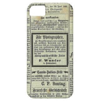 Caja alemana del periódico del vintage iPhone 5 funda