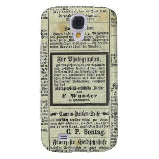 Caja alemana del periódico del vintage samsung galaxy s4 cover
