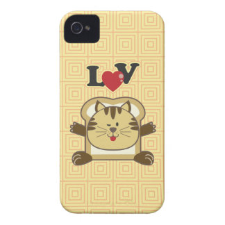 Caja amarilla de Blackberry del gato que empana iPhone 4 Case-Mate Carcasa