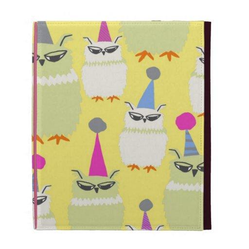 Caja amarilla del folio del iPad de los búhos de c