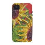 Caja amarilla del iPhone 4 de los girasoles Case-Mate iPhone 4 Carcasas