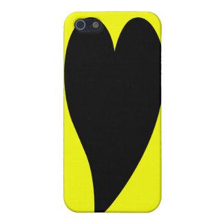 Caja amarilla del iPhone 4 del corazón iPhone 5 Protector