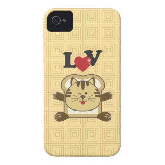 Caja amarilla del iPhone 4 del gato que empana iPhone 4 Case-Mate Funda