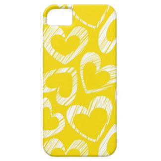 Caja amarilla del iPhone 5 de los corazones iPhone 5 Case-Mate Cárcasa