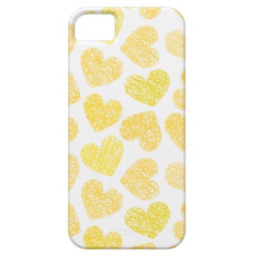 Caja amarilla del iPhone 5 de los corazones iPhone 5 Fundas