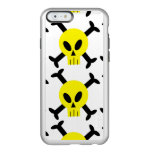 Caja amarilla del iPhone 6 del cráneo y del brillo Funda Para iPhone 6 Plus Incipio Feather Shine