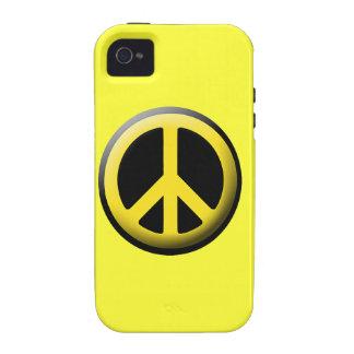 Caja amarilla del iPhone del símbolo de paz iPhone 4/4S Fundas