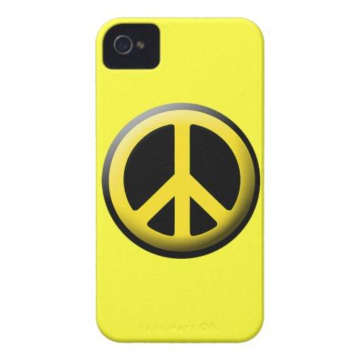 Caja amarilla del iPhone del símbolo de paz iPhone 4 Case-Mate Fundas
