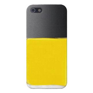 Caja amarilla del teléfono del esmalte de uñas de iPhone 5 funda