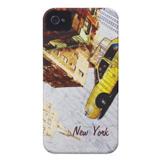 Caja amarilla del teléfono del taxi de Nueva York Case-Mate iPhone 4 Protectores