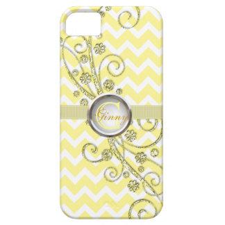 Caja amarilla elegante del iPhone del monograma de iPhone 5 Case-Mate Fundas